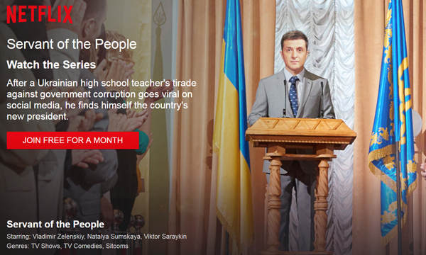 Ukrainian political comedy series 'Servant of the People' was highly rated by the international audience after it became available on Netflix